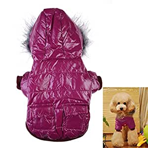 Generic Pets Dogs Winter Warm Clothing With Hoody Coats-Purple-XXL