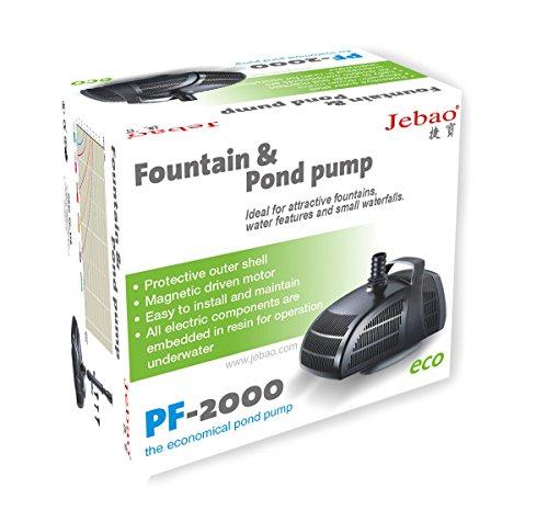 Jebao PF-2000 Pompa Sommergibile Stagno con Allegati per Fontana 2000L/h Accessori per fontane Giardino e giardinaggio