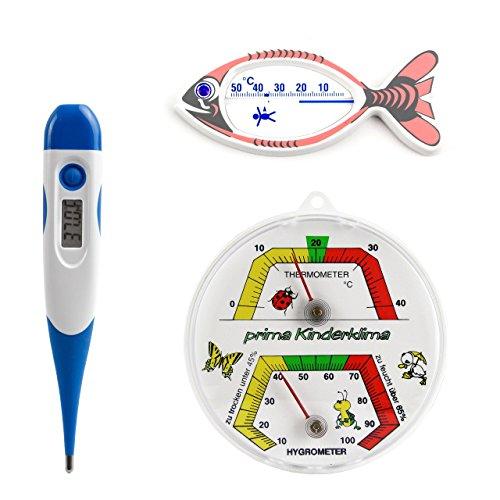 3 tlg. Kinderthermometer Set mit Digital Kinder Fieber Thermometer mit flexibler Spitze und Analog Kinderzimmer Thermo / Hygrometer und Kinderbadethermometer Fisch weiß farbig bedruckt
