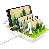 Gelid Solutions, stazione di ricarica multipla Zentree,con interno di colore verde e alloggiamento di colore bianco, 4 porte USB, caricabatterie per smartphone, tablet, iPhone, lettore eBook, Samsung Galaxy, Huawei, HTC, Apple, Sony