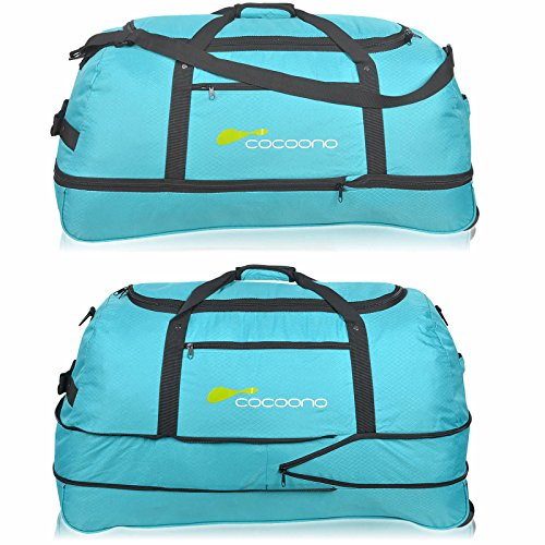 XXL Rollenreisetasche COCOONO 100-135 Liter Volumen Reisetasche faltbar Trolley Koffer STORM Tasche (Schwarz) Petrol