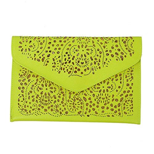 SODIAL(R) Vintage nationale Frauen Tendenz Handtaschen Ausschnitt Umschlag Beutel Schulter Kreuzkoerper Beutel Tage Clutch Frauen Beutel Gelb fluoreszierendes Gelb