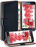 moex Samsung Galaxy J5 (2015) | Hülle Schwarz mit Karten-Fach 360° Book Klapp-Hülle Handytasche Kunst-Leder Handyhülle für Sa