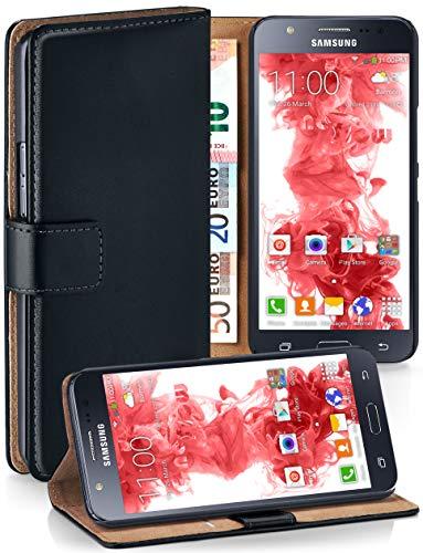 MoEx® Booklet mit Flip Funktion [360 Grad Voll-Schutz] für Samsung Galaxy J5 (2015) | Geldfach und Kartenfach + Stand-Funktion und Magnet-Verschluss, Schwarz