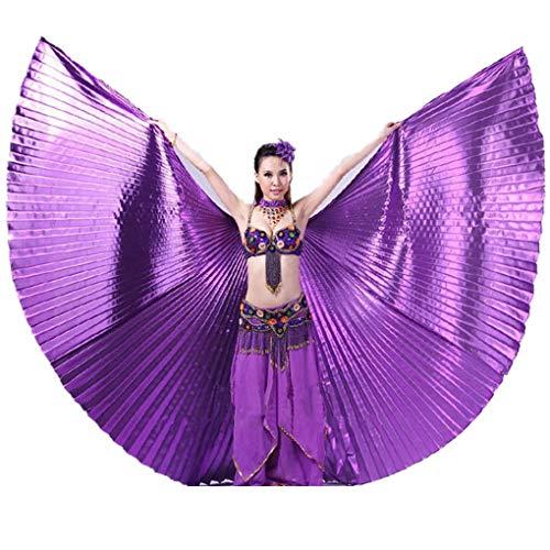 Graue Kostüm Flügel - Dorical 1PC Damen Ägypten Bauchtanz -Kostüm Flügel Bauchtanz Zubehör Maskenspiel Keine Sticks (Einheitsgröße)(Lila,142cm/55.9)