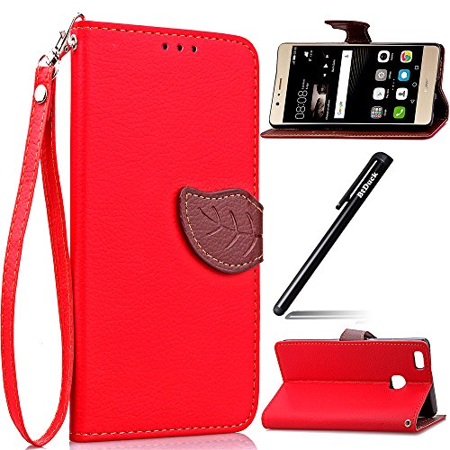 huawei-p9-lite-briefcase-case-embossed-leaveshuawei-p9-lite-cover-leaf-shapebtduck-red-stand-phone-s