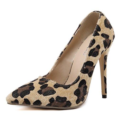 GS~LY Regali Festa della mamma Leopard stampa scarpe appuntiti tacchi alti Brown