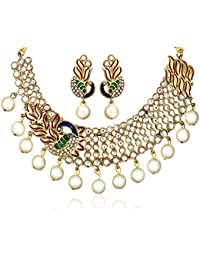 Zaveri Pearls Dancing Peacock Kundan Pearl Drop Necklace Set for Women-ZPFK137