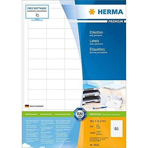 Herma 4606_ A4, 38,1 x 21,2 mm - Pack de 13000 etiquetas, A4, 38.1 x 21.2 mm, color blanco