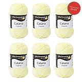 Catania Wolle Mimose Fb 100 (gelb) - Baumwolle zum Stricken - Schachenmayr Catania Wolle - Baumwolle zum Häkeln - Wolle Catania Schachenmayr - 100% Baumwolle - GRATIS MyOma Wollrausch Label pro Lieferung