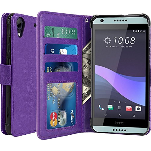 HTC Desire 650 Hülle, Scott-DE Luxus PU Leder Brieftasche Flip Case Cover Schütz Hülle Abdeckung Ledertasche für HTC Desire 650 (lila)