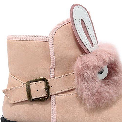 AllhqFashion Damen Rund Zehe Niedrig-Spitze Niedriger Absatz Eingelegt Stiefel mit Schnalle Pink