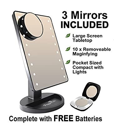 Peppermint Cafe Make Up Mirror with Lights Set - Large Black Vanity Set of 3 Makeup Mirrors with Hollywood Lights | Ideal for Dressing Table, Travel, Desk or the Bathroom Mirror with Light | Battery Powered Included | UK Seller - cheap UK light store.