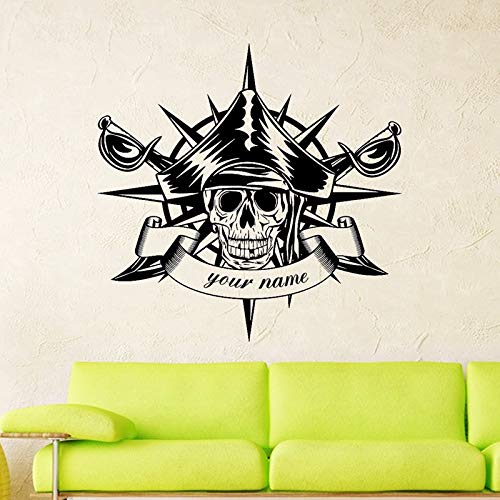 haotong11 Schädel Halloween Kompass Schwerter Piraten Aufkleber Punk Tod Aufkleber Teufel Poster Name Autofenster Kunst Wandaufkleber Dekor Wandbild 58 * 60 cm
