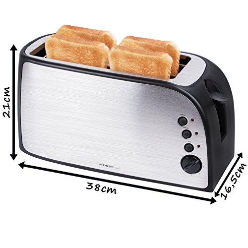 TZS First Austria – gebürsteter Edelstahl 4 Scheiben Toaster 1500W - 2