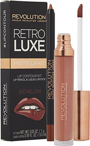 Makeup Revolution Matte Flüssiger Lippenstift und passender Lipliner - Retro Luxe Kit Echelon