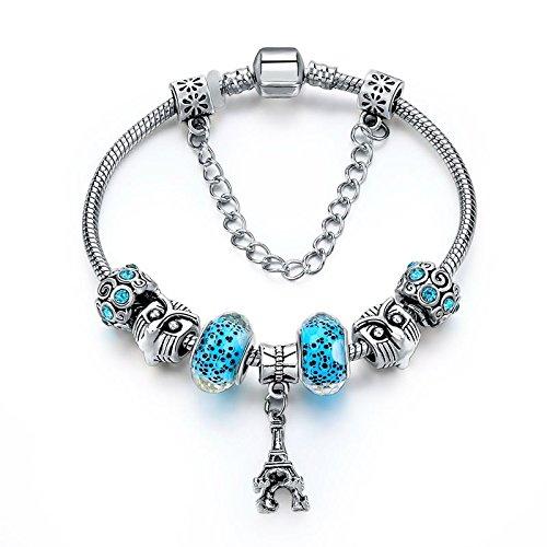 Braccialetto charms argento tibetano e strass con perle di vetro blu cristallo e ciondolo torre eiffel