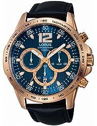 Lorus reloj para hombre correa de cuero negro reloj cronógrafo RT312EX9