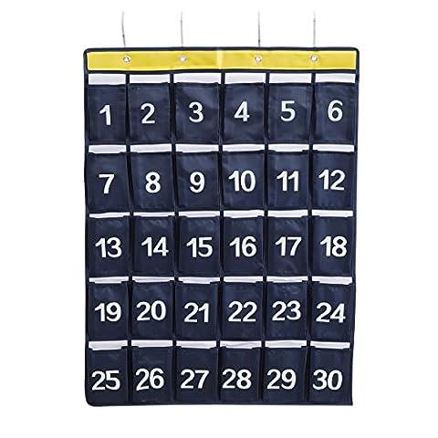 Numerierte Pocket Charts für Klassenzimmer Handy Hanging Storage Organizer 30 Taschen