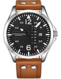 Stuhrling Original Mens Analog Sport Aviator Watch, Quick-Set Day-Date, Casual Leather Strap …