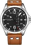 Stuhrling Original Reloj de Cuero para Hombre - Esfera de Reloj de aviación Negra, Juego rápido de día, Correa de Cuero con Remaches de Acero, 699 colección de Relojes para Hombre