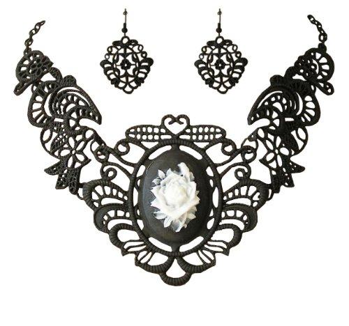 Trachtenschmuck Dirndl Gothic Gemme / Kamee Collier - Set -Kette und Ohrhänger - Ornamentales Design - schwarz