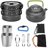 11pcs que acampa kit de cocina - Odoland portátil portátil de utensilios de cocina, ideal para mochilero, camping al aire libre senderismo y picnic (10pcs Tetera)
