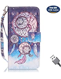 Funda Galaxy S6 Edge,Funda Cover Galaxy S6 Edge,Aireratze Slim Case de Estilo Billetera Carcasa Libro de Cuero,Carcasa PU Leather Con TPU Silicona Crystal Glitter Bright Color 3D Caja de superficie tridimensional (correa de mano) [Diamante adjunto] Case Interna Suave [Función de Soporte] [Ranuras para Tarjetas y Billetera] [Cierre Magnético] para Samsung Galaxy S6 Edge (Atrapasueños) (+ Cable USB)