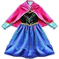 TiaoBug Disfraz de Princesa Niña con Capa Traje de Princesa de la Nieve Vestido Infantil Princesa de Niñas para Fiesta Cumpleaños Navidad Halloween Traje Fiesta