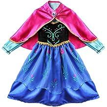 iEFiEL Vestido de Princesa de Manga Larga con Capa Desmontable Disfraz para Niña Cosplay Dress