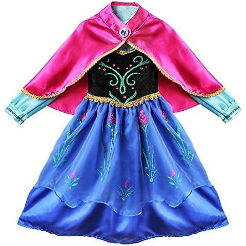 iEFiEL un Vestido de Princesa de Manga Larga con una Capa Desmontable para Niña Cosplay Dress