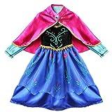 Alvivi Mädchen Prinzessin Kleid Kinder Märchen Kostüm Bekleidungsset aus Kleid, Umhang für Fasching Halloween Karneval Party Cosplay Blau 98-104/3-4 Jahre