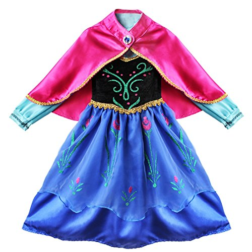 Alvivi Mädchen Prinzessin Kleid Kinder Märchen Kostüm Bekleidungsset aus Kleid, Umhang für Fasching Halloween Karneval Party Cosplay Blau 110-116/5-6 Jahre