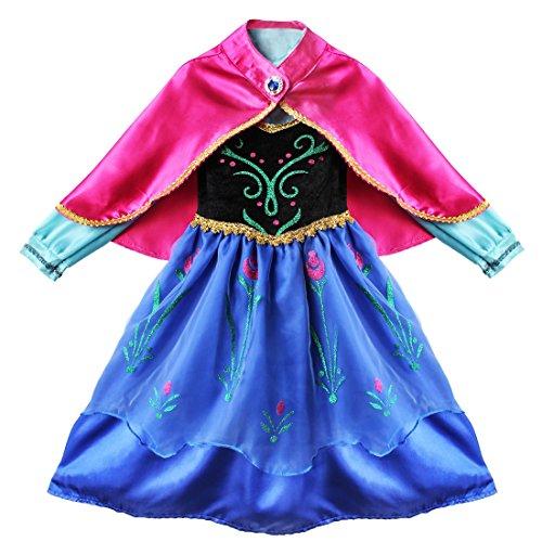 Tiaobug Kinder Kostüm Mädchen Prinzessin Kleid Kinderkostüm Halloween Karneval Party Cosplay Verkleidung Festkleid (110-116, Dunkel Rosa + Blau)