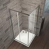 Eckeinstieg Duschkabine 70 x 120 cm Duschabtrennung Doppel Schiebetür Duschtür Duschwand Mit Nano-Beschichtung Höhe 195cm