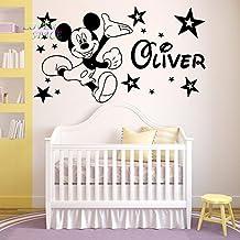 "Mickey Mouse pared pegatina personalizada nombre arte de pared vinilo pegatinas vivero sala para niños, Blanco, -Large -SIZE 120cm x 60cm (48"" x 24"")"