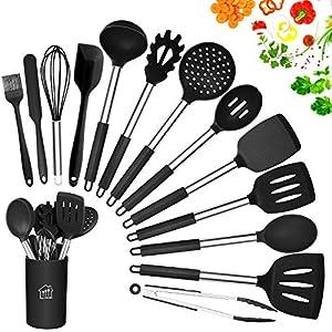 AILUKI Silikon Kochgeschirr Set, Küchengerät 14 Stück Küchenhelfer Set, Antihaft Hitzebeständiger Silikonspatel Set, Küchenutensilien mit Edelstahlgriff Schwarz