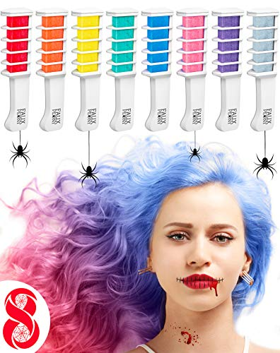 Peigne à Craie pour Cheveux – Coloration temporaire des cheveux – Brosse couleurs – Set de 8 pièces: rouge, rose, vert, violet, gris, jaune, orange et bleu