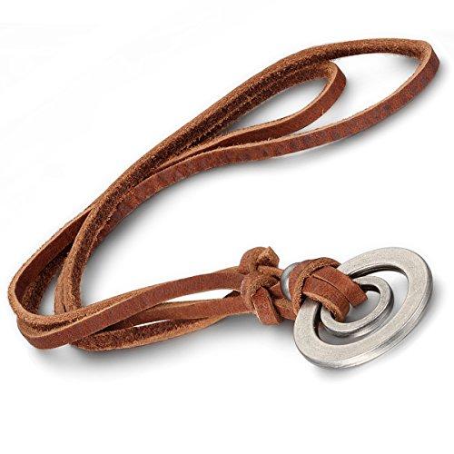 oidea Collar Mujer Hombre, Retro Anillos aleación piel genuina Cadena Colgante con collar, color marrón plata