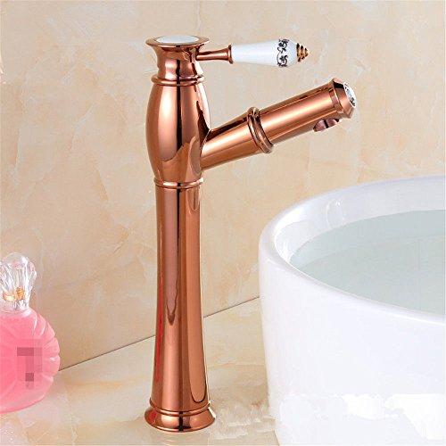 LHbox Rose Gold Euro-Kupfer Waschtisch Armatur Waschbecken Wasserhahn Warmes und Kaltes Sepia Waschen Sie es skalierbar zu Ziehen, Rose Gold Plus Hohe Taps