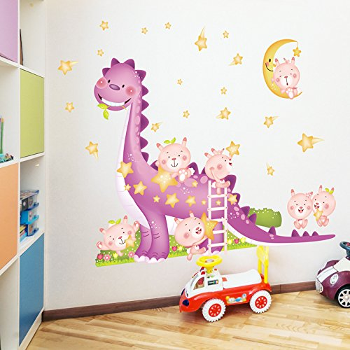 GYHTXHJPET Kreative Wand Aufkleber Mode Wandtattoos Umweltschutz Wandbild Dekoration Flugzeug Dekoratives Material Wallpaper Kind Dinosaurier Papier Euro-Amerikanischen Stil Baby Gebäude 173 * 140 cm -