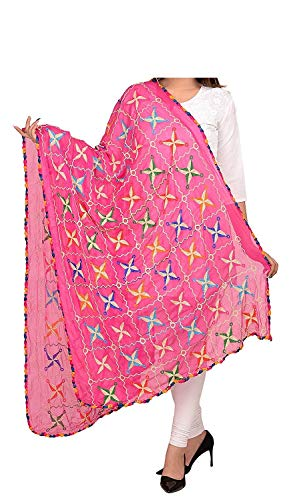 Women's Chiffon Phulkari Dupattas Neck Scarf Fashionable Stole size- 2.25 meter