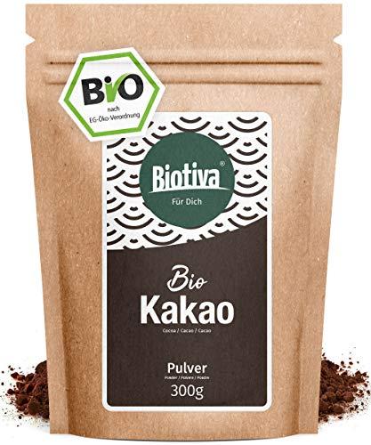 Bio Kakao Pulver (300g) - 100% reines Kakaopulver stark entölt (11% Fett) - ohne Zucker - ohne Zusatzstoffe - hochwertigste Biotiva® Qualität - Abgefüllt und kontrolliert in Deutschland (DE-ÖKO-005)