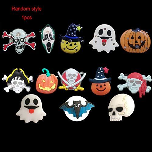 Heaviesk 1 stücke LED Brosche Halloween LED Brosche Kinder Leucht Abzeichen Blinklicht Brosche Kürbis Geist Schädel Party (Muster zufällig) -