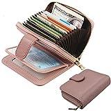 JANSBEN Geldbörse Damen Leder klein Geldbeutel Frauen Portemonnaie Brieftasche mit RFID Schutz Kreditkartenetui Wallets mit Reißverschluss-Pink