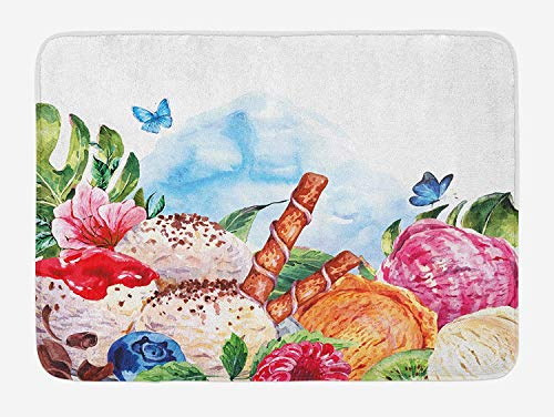 Tropical Bath Mat, Flowers and Butterflies with Ice Cream Berry Sauce and Chocolate Dessert Summer, Plush Bathroom Decor Mat with Non Slip Backing,Multicolor 19.7x31.5 in