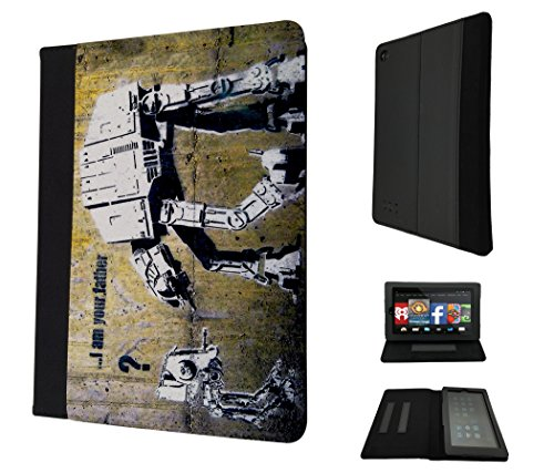 "Image of 548 - Banksy Graffiti Art Star War Robot Design Amazon kindle Fire HD 8, 8"" Fashion Trend TPU Leather Flip Case Protective Purse Pouch Book Style Defender Stand Cover"