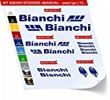 "Fahrradaufkleber-Set ""Bianchi"", 12 Stück (Artikelnummer: 0426), Blu Royal cod. 049"