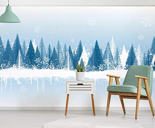 Carta Da Parati Effetto 3D Fotomurali Elegante Dipinto A Mano Di Scena Blu Fresca Della Neve Della Foresta Design Carta Per Pareti Decorazione Murali Da Parete