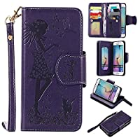 Beddouuk Samsung Galaxy S6 Edge Case,Samsung Galaxy S6 Edge Flip Case,Premium Folio PU Leather Wallet Case with [Kickstand][Card Holders][Magnetic Closure][Wrist Strap],Pressed Purple Girl and Cat Flip Notebook Full Body Case Cover for Samsung Galaxy S6 E